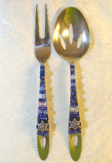 Beaded Salad Servers - Evening Star