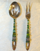 Beaded Salad Servers - Green Tree of Life