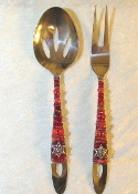 Beaded Salad Servers - Pomegranate
