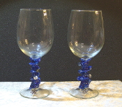 Indigo Blue Beaded Wine Glasses