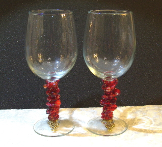 Pomegranate Red Beaded Wine Glasses