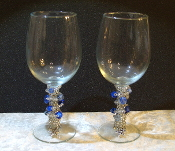 Silver and Blue Beaded Wine Glasses