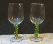 Lime Green Beaded Wine Glasses