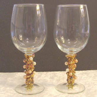 Mixed Gold Pearls Beaded Wine Glasses
