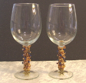 Gold and Iridescent Violet Crystals Beaded Wine Glasses