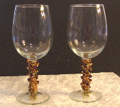 Gold and Iridescent Purple Crystals Beaded Wine Glasses