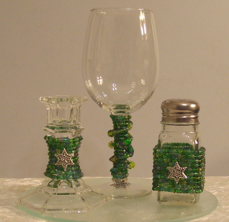 Emerald Beaded Havdalah Set