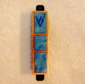 Copper Enamel Mezuzah - Blue-Green