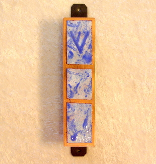 Copper Enamel Mezuzah - Deep Blue and White