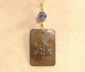 Copper Enamel Necklace - Blue and Rust