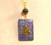 Copper Enamel Necklace - Indigo and Purple
