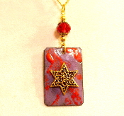 Copper Enamel Necklace - Red and Purple Mix