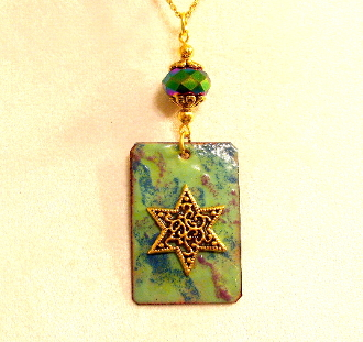 Copper Enamel Necklace - Green and Teal Mix