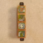 Glass Tile Mezuzah - Iridescent Green Glass on Copper