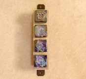 Glass Tile Mezuzah - Iridescent Purple and Blue on Black Glass