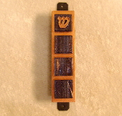 Glass Tile Mezuzah - Purple with Gold Threads on Copper