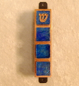 Glass Tile Mezuzah - Cobalt Blue on Copper