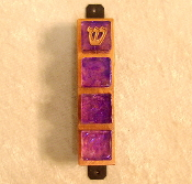 Glass Tile Mezuzah - Purple on Copper