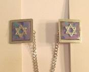 Copper Enamel Tallit Clips - Blue and Purple