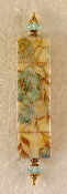 Elegant Mezuzah - Baby Blue Flowers on Rusted Vines