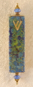 Elegant Mezuzah - Blue and Green Circles of Gold