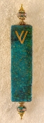 Elegant Mezuzah - Teal with Gold Stampings
