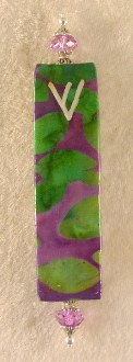 Elegant Mezuzah - Lime and Purple Batik