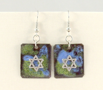 Copper Enamel Earrings - Blue and Green