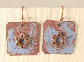 Rustic Copper Enamel Earrings - Holland Blue