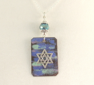 Copper Enamel Necklace - Monet's Water Lilies