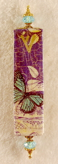 Elegant Mezuzah - Blue Monarch Collage