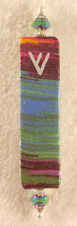 Elegant Mezuzah - Multi-Colored Stripes