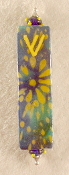 Elegant Mezuzah - Blue and Yellow Sunburst Batik