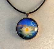 Glass Pendant - Water Lily with Star of David