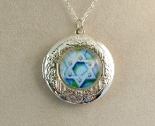 Lockets - Aqua Blue Star of David
