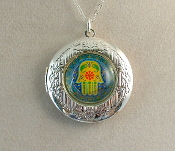 Lockets - Hamsa on Teal Background