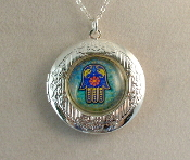 Lockets - Blue Hamsa on Aqua Background