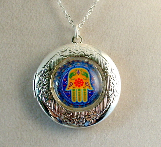 Lockets - Multicolored Hamsa on Deep Blue Background