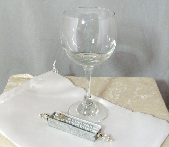 Wedding Glass Kit - Wine Glass, Satin Bag, Mezuzah - Clear