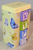 Tzedakah Box - Blue and Purple Butterflies on Yellow Background