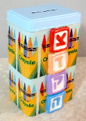 Tzedakah Box - Crayons on Blue Background