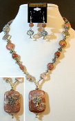 Pink Marble Statement Necklace with Reversible Pendant