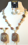 Indian Red Jasper Statement Necklace with Reversible Pendant
