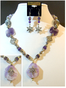 Lavender Amethyst Statement Necklace with Reversible Pendant