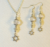 Clear Crystal Necklace/Earring Set with Star of David Charms