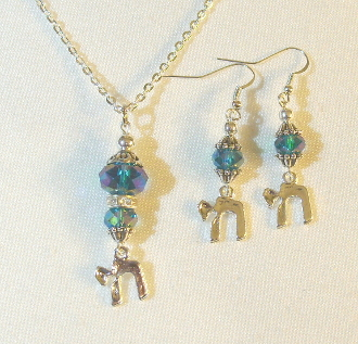 AB Finish Aqua Crystals Necklace/Earrings Set with Chai Charms