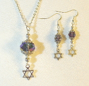 AB Purple Crystal Necklace/Earring Set with Star of David Charms