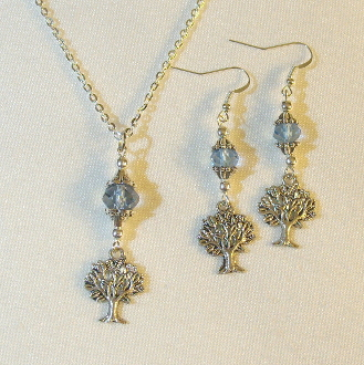 Light Blue Crystal Necklace/Earring Set with Tree of Life Charms