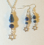 Blue Metallic Sheen Crystal Necklace/Earring Set