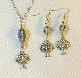 Iridescent Lilac Crystal Necklace/Earring Set with Tree of Life